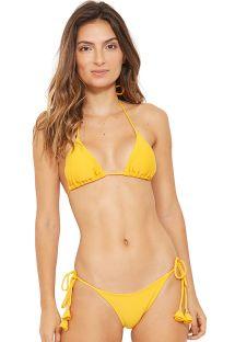 Bikini triangle jaune et pompons à nouer - BOJO AMAERLO SAFRAN