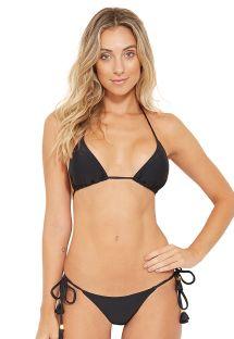Schwarzes dreieck Bikini mit seitlicher Krawatte und langen Quasten - BOJO PRETO