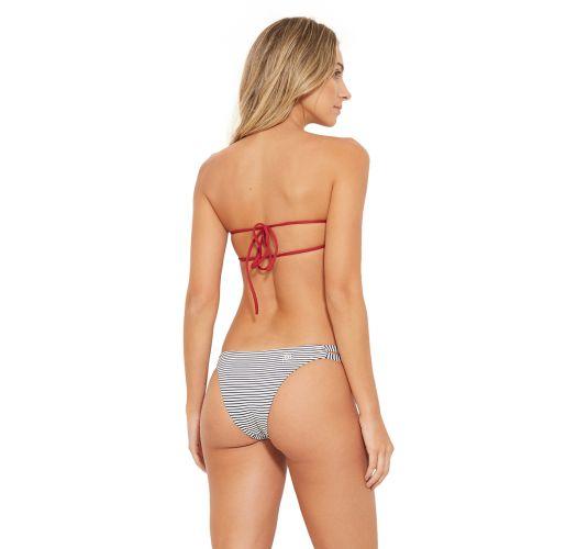 Bikini bandeau rayé et liens rouges - CAIRO LISTRADO