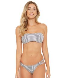 Stripped bandeau bikini with red laces - CAIRO LISTRADO