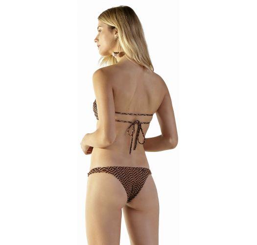 Brown ethnic bandeau bikini with multi-straps sides - CAIRO MALDIVAS GUINE