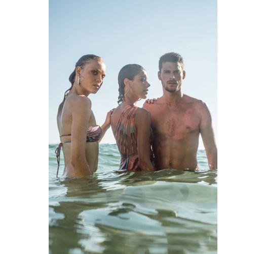 Tropical print & straps bandeau bikini - CAIRO THAITY PALMAR