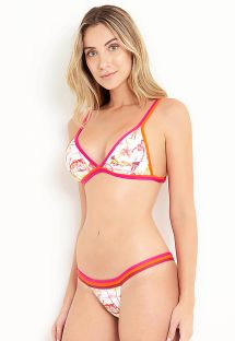 Triangle bikini with colorful print and contrasting edges - CALM BEACH