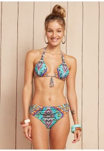 Triangle halterneck bikini top with fringed tassel detail - CARIBE NAGO