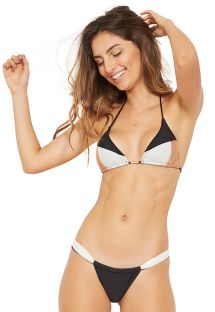 Dreifarbiger gleitender Triangel-Bikini - COLOR PRETO