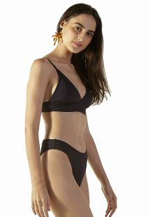 Black ribbed Brazilian high-leg bikini - DELTA PRETO
