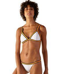 White Brazilian bikini with orange & black finishing - DISCO BRANCO