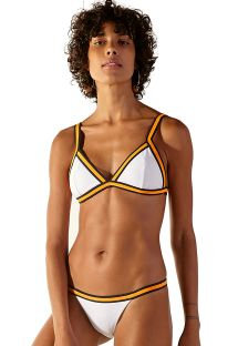 White Brazilian bikini with orange & black finishing - DISCO BRANCO