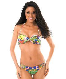 Brightly-coloured strappy printed bandeau bikini - EXUBERANTE BOSSA