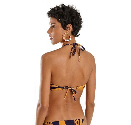 Navy & gold print V-underwired triangle bikini - FOX BOLD LEAFS