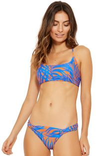 Blue and orange crossed back crop top bikini - FUNK CAYENA