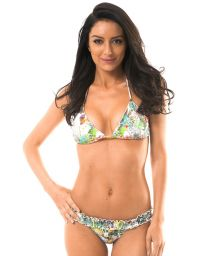 Tropical Brazilian bikini with smocked waistband - GARDEN PINUP
