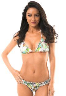 Brasiliansk bikini med tropisk mønster og smocksyning på bæltestykket - GARDEN PINUP