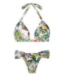 Fixed triangle scarf bikini with plant theme print - GARDEN VELEIRO