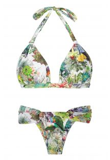 Fixed triangle scarf bikini with plant theme print - GARDEN VELEIRO
