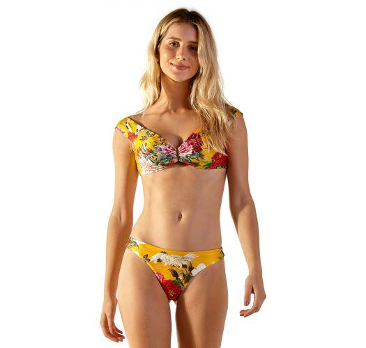 Fleurig gele bikini met Bardot-halslijn en hoog uitgesneden tangabroekje - GIL XANGAI