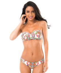 Padded bandeau top bikini in a tropical print - GUARANA GIRLS