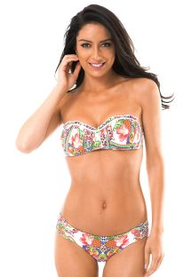 Padded bandeau top bikini in a tropical print - GUARANA GIRLS