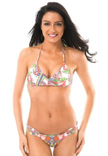 Multicoloured criss-cross triangle top bikini - GUARANA ORLA