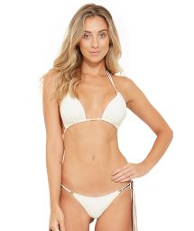 White deep cut triangle bikini with long tassels - HAWAI BRANCO PEROLA