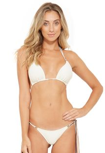 White deep cut triangle bikini with long tassels - HAWAI BRANCO PEROLA