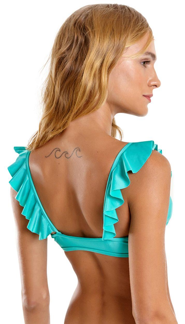 Turquoise green ruffled bralette bikini - HULA VERDE CLARO