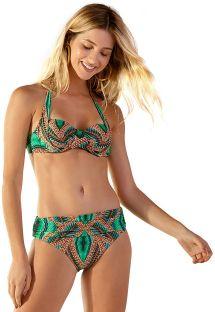 Bikini verde tropicale top balconcino halter - IBIZA TAI
