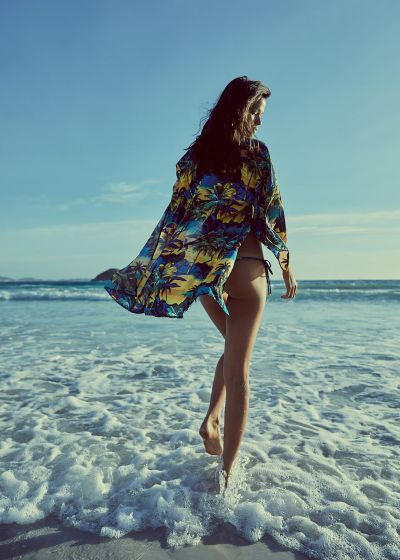 Bikini med blandning av tropiska / randiga tryck - ICEBERG ENTARDECER