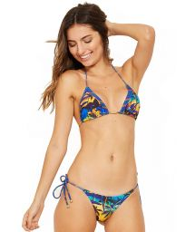 Triangle sliding bikini in tropical print and stripes - ICEBERG ENTARDECER