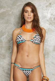 Bikini brésilien imprimé géométrique noir et blanc, doubles liens sur le côté - ICEBERG ZEBRA