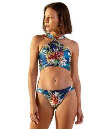 Floral blue duble side bikini with crop top - ILHOS ARTA