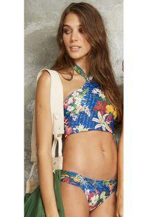 Niebieskie brazylijskie bikini z motywem kwiatowym, góra typu crop top - ILHOS PACIFICO
