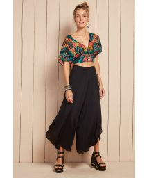 Floral print crop top and black culotte skirt set - INDONESIA