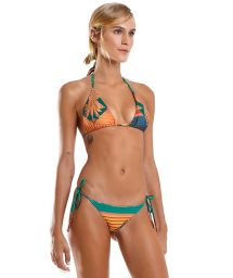 Colorful stripes side-tie Brazilian bikini - JADE DOUBLE SALSA
