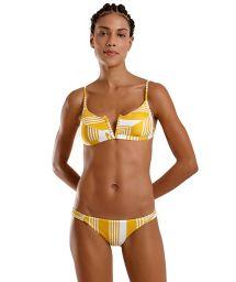 Bustier-Bikini V-förmig gelb/weiß gestreift - JOY NASCA