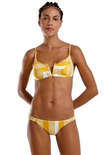 Yellow & white striped v-bralette bikini - JOY NASCA