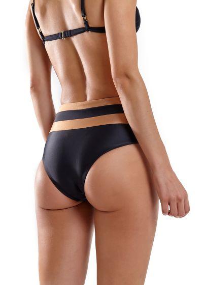 Black & copper high waist bikini with V bralette top - JOY RECORTE LISO PRETO MARROM