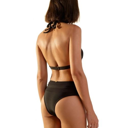 Black bi-material high-waisted bikini with crop top - JUMP PRETO