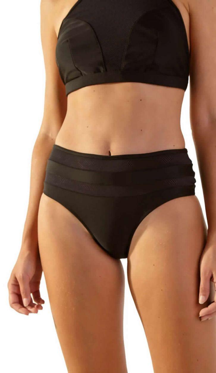 Black bi-material high-waisted bikini with crop top - JUMP PRETO