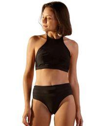 High-Waist-Bikini und Crop-Top, Bi-Material - JUMP PRETO