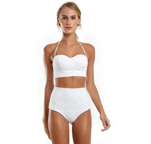 Weißer Spitzen-Bustier-Bikini mit Formbügel - LAISE BRANCO