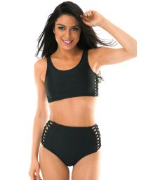 Black high waisted bikini with macramé side detail - LEME HOTPANTS