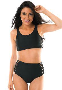 Bikini med høy lukking i svart og macrame - LEME HOTPANTS