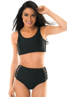 Zwarte bikini, hoge taille, macramédetails - LEME HOTPANTS