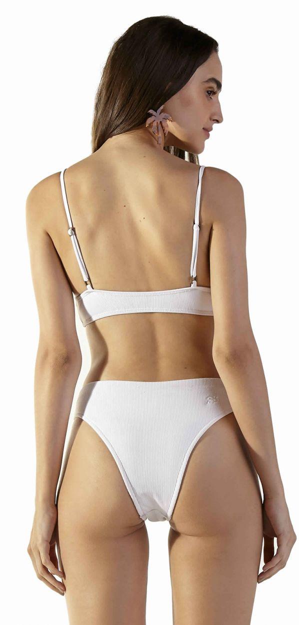 White ribbed longline bikini - LIGHT BRANCO