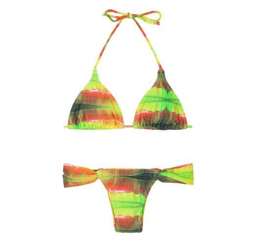 Tie-dye two-piece swimsuit with sliding tanga bottoms - LIGHT LARANJA