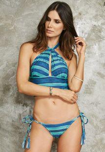 Niebieskie bikini w paski, góra typu crop top, dół z frędzelkami - LINDO TAHITY