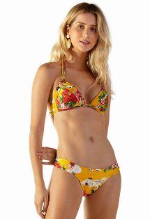 Bikini triangle foulard paddé jaune à fleurs - LOTUS XANGAI