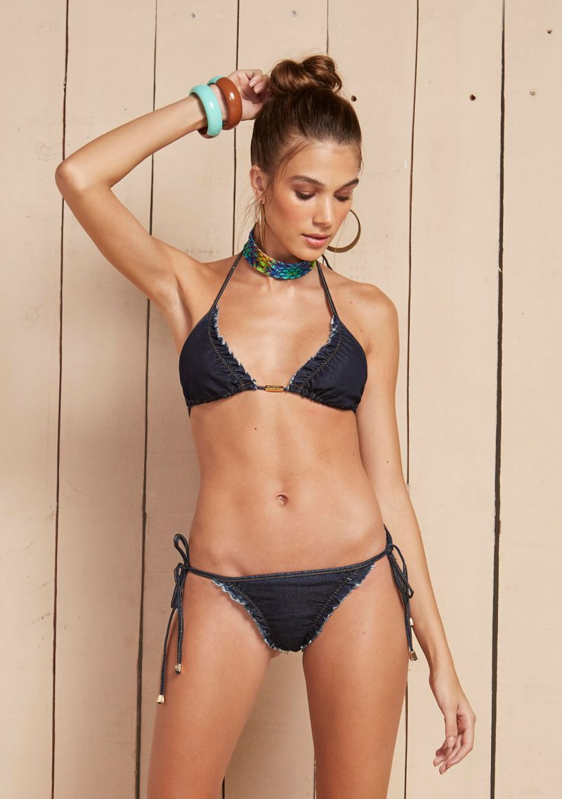Denim fringe-trimmed scrunch bottom bikini - MANJARI