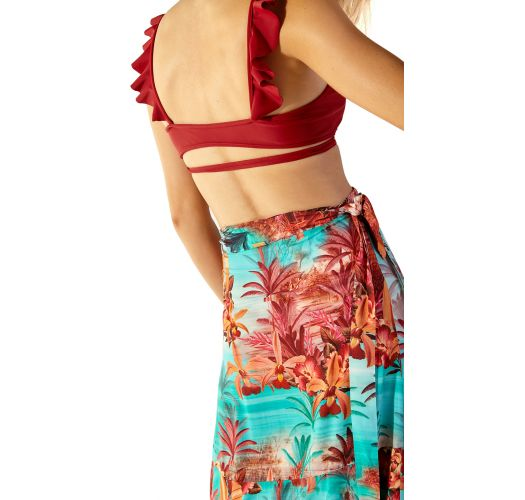 Dark red ruffled bikini with thin adjustable sides - MARGOT VERMELHO